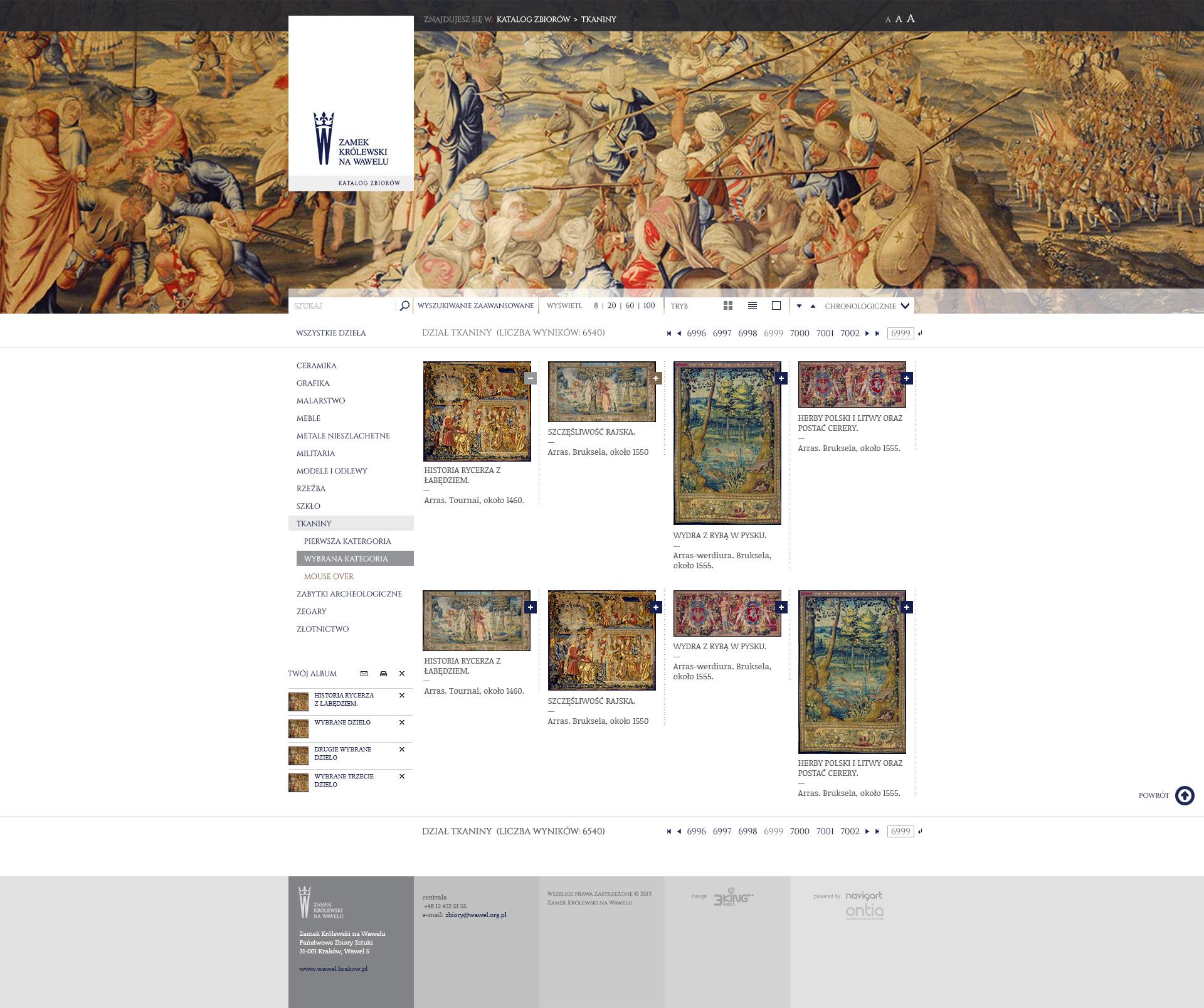 Zamek na Wawelu - Katalog zbiorow - stona katalogu